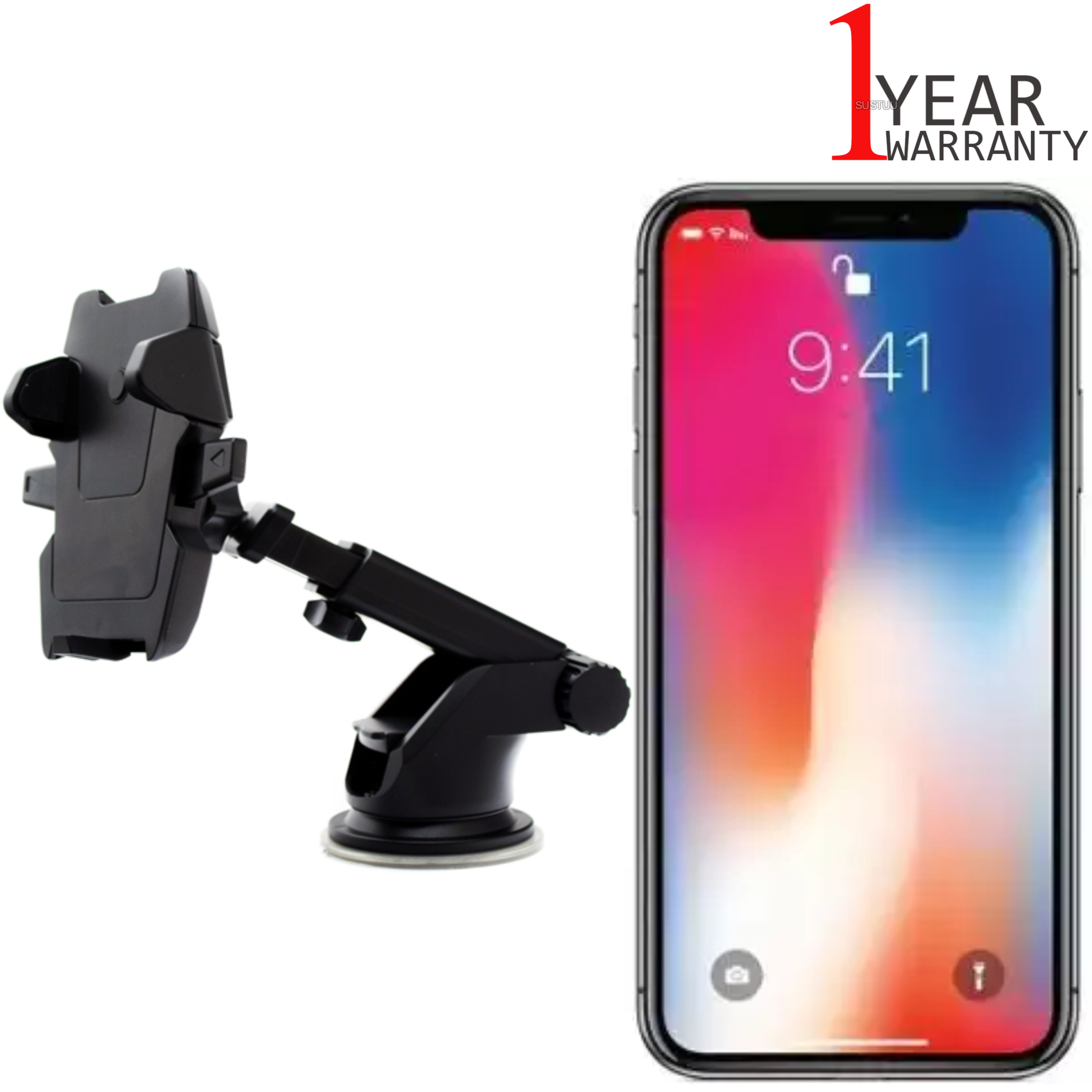Universal In Car Dash Mount | Windscreen Holder+Long Neck | For iPhone XS-XS Max-XR