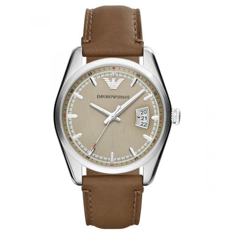 Emporio Armani Men's Formal Watch|Cream Round Dial|Brown Leather Strap|AR6016 Thumbnail 1