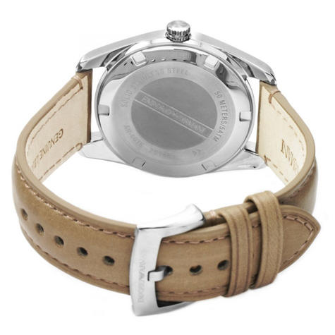 Emporio Armani Men's Formal Watch|Cream Round Dial|Brown Leather Strap|AR6016 Thumbnail 3