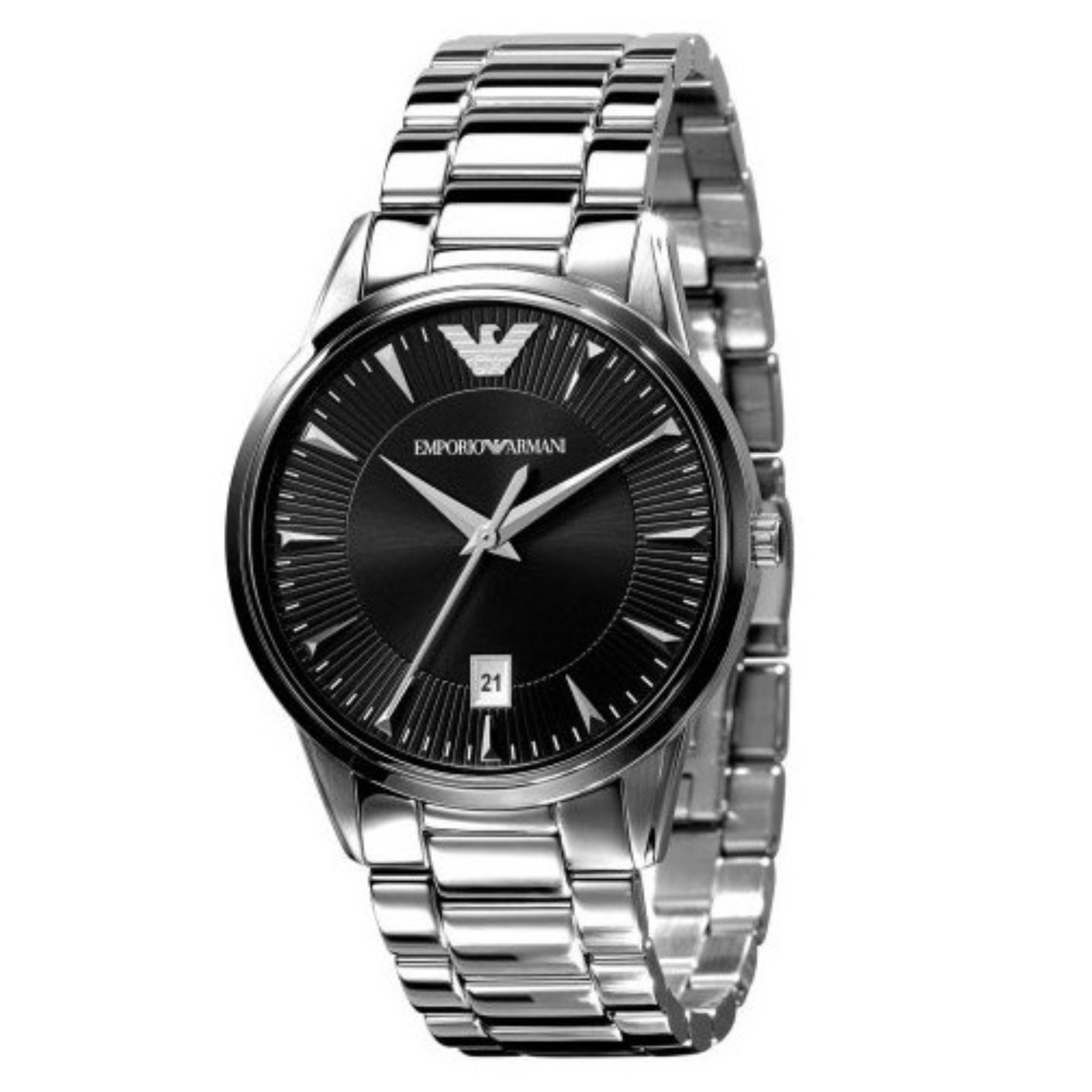 Emporio Armani Classic Unisex Watch | Black Round Dial | Stainless Strap | AR2440