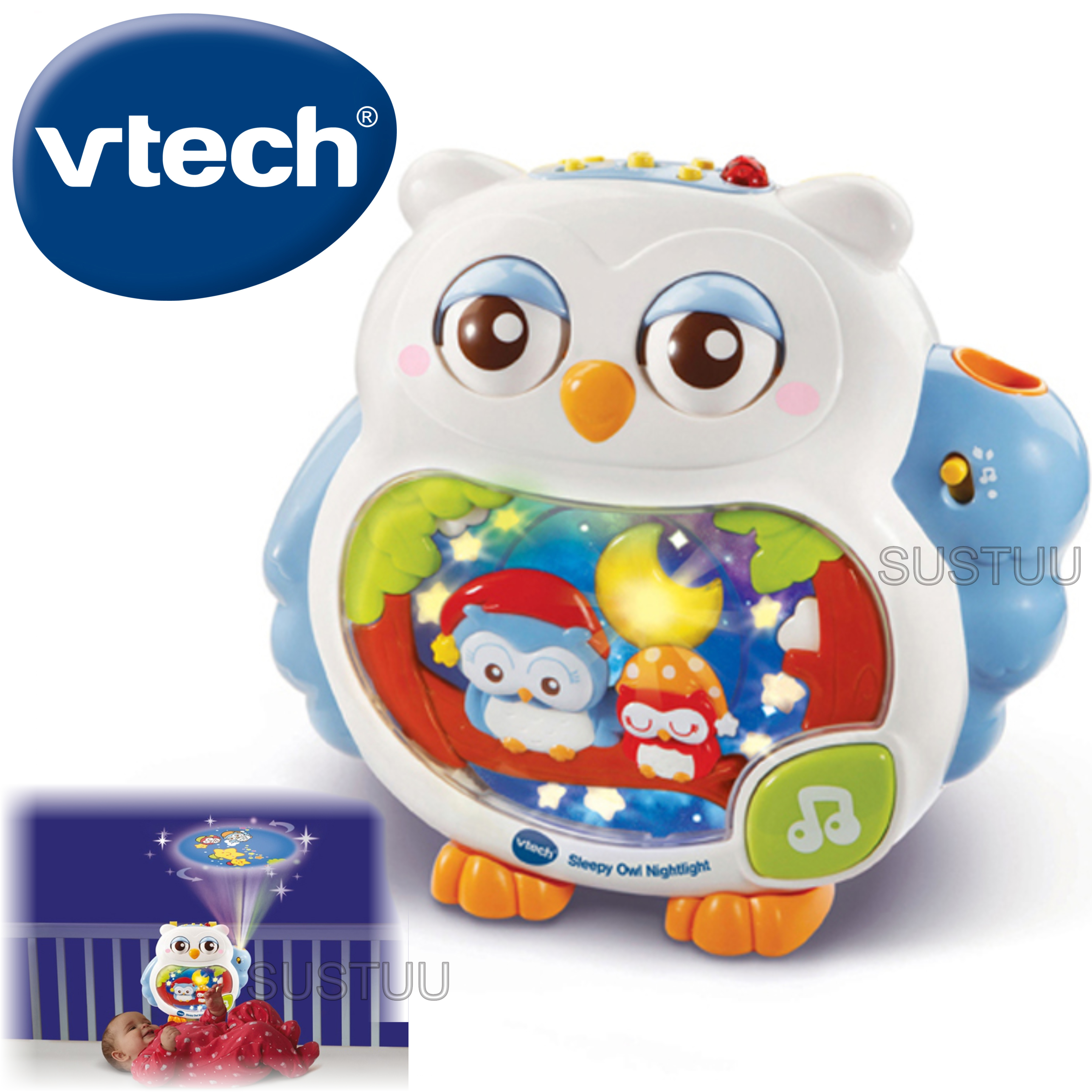 VTech Sleepy Owl Soothing Nightlight For Baby | Lullaby Mode + Remote Control | 0+M
