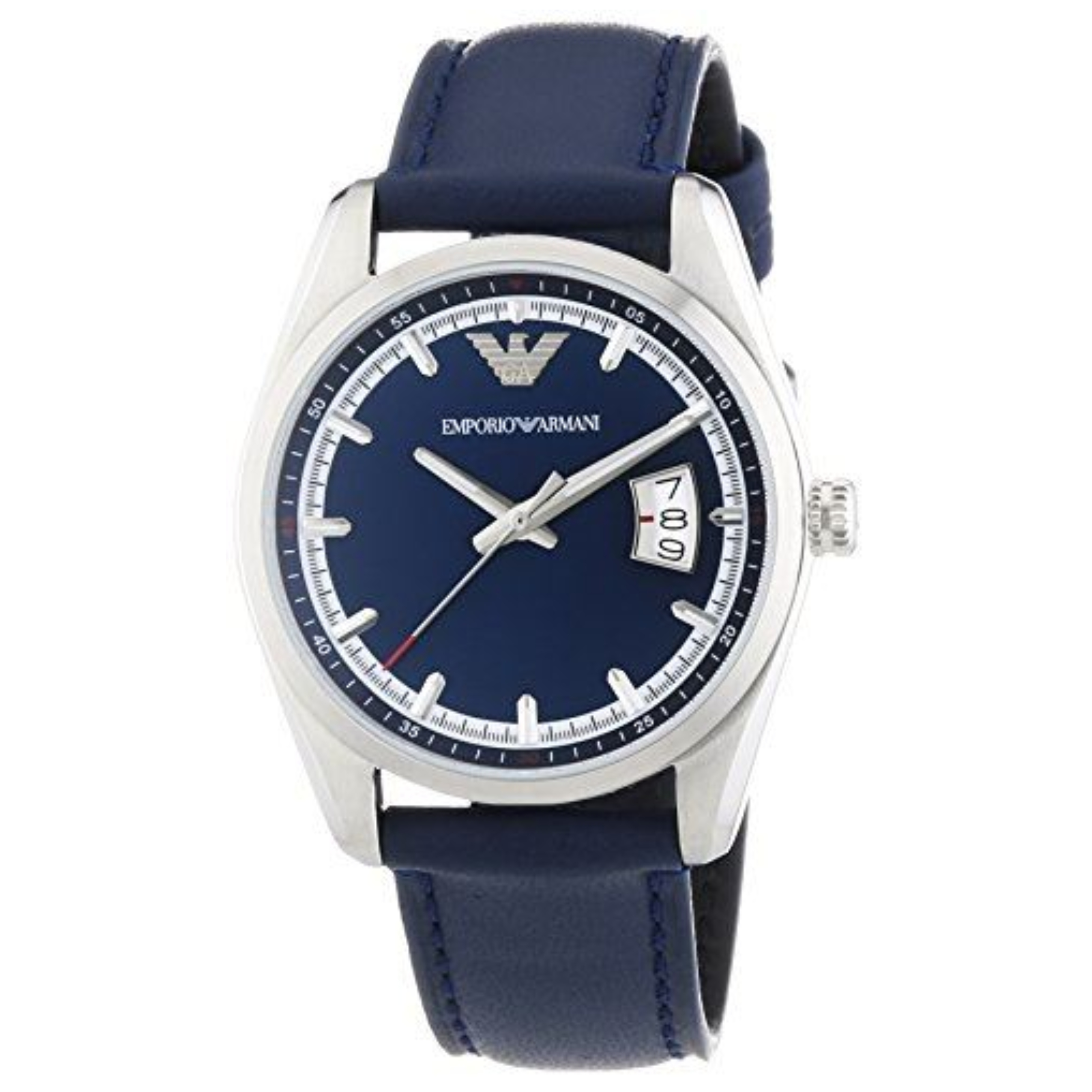Emporio Armani Men's Formal Watch|Blue Round Dial|Blue Leather Strap|AR6017