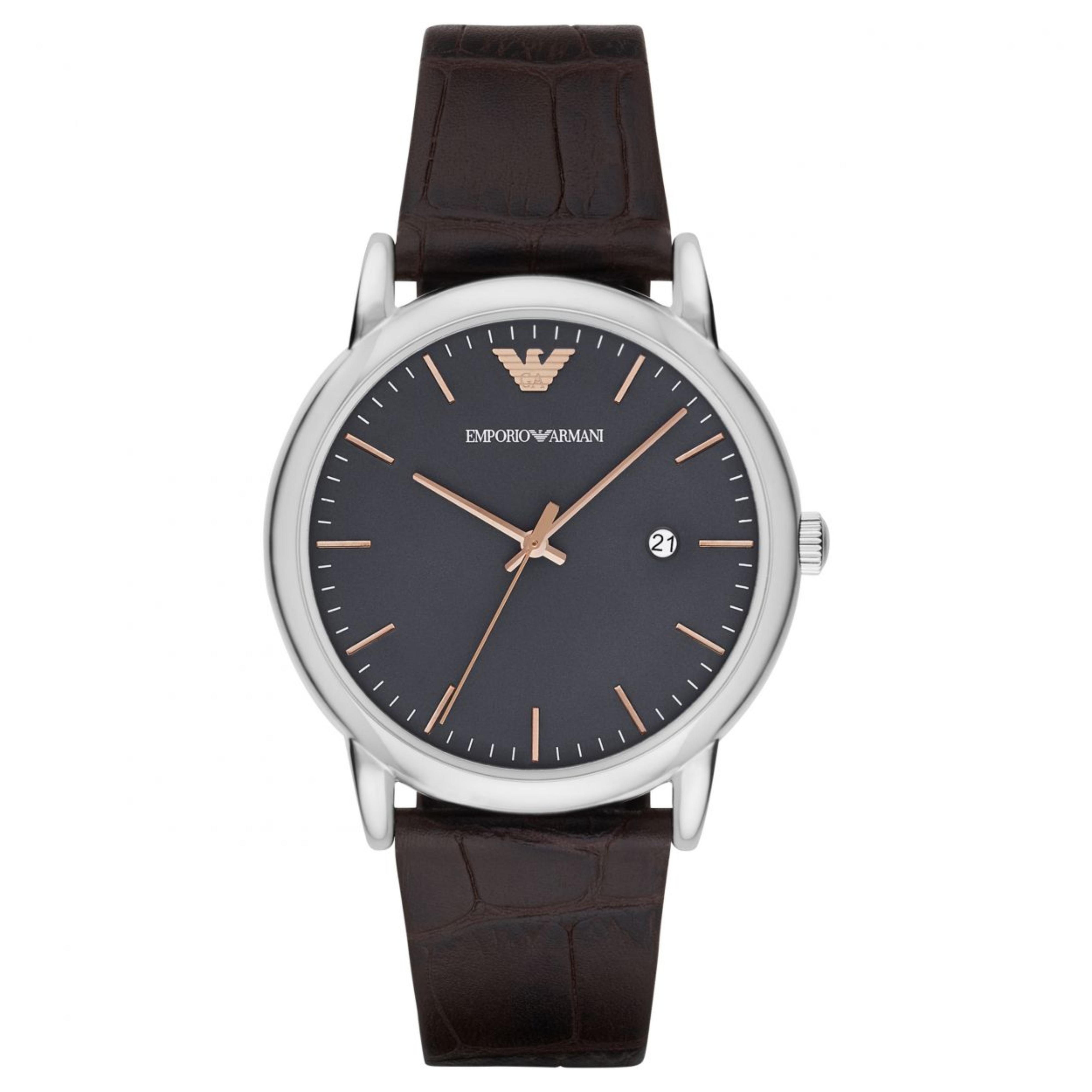 Emporio Armani Luigi Men's Watch | Grey Round Dial | Dark Brown Leather Strap | AR1996