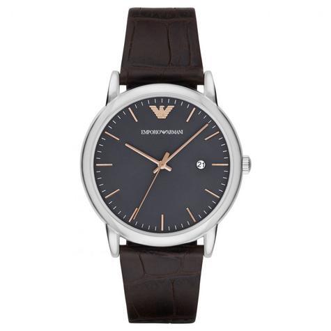 Emporio Armani Luigi Men's Watch | Grey Round Dial | Dark Brown Leather Strap | AR1996 Thumbnail 1