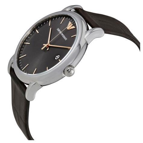 Emporio Armani Luigi Men's Watch | Grey Round Dial | Dark Brown Leather Strap | AR1996 Thumbnail 2