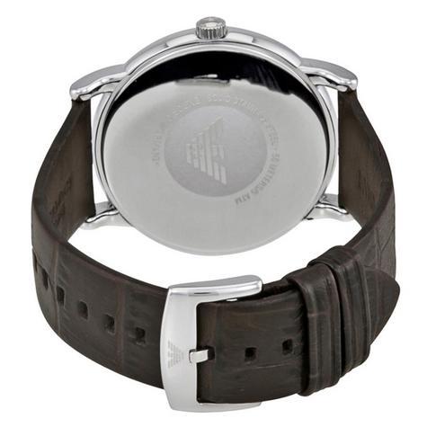 Emporio Armani Luigi Men's Watch | Grey Round Dial | Dark Brown Leather Strap | AR1996 Thumbnail 3