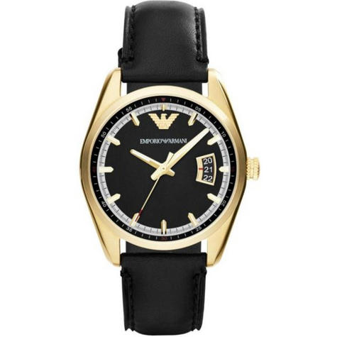 Emporio Armani Sportivo Men's Wrist Watch|Round Dial|Black Leather Strap|AR6018 Thumbnail 1