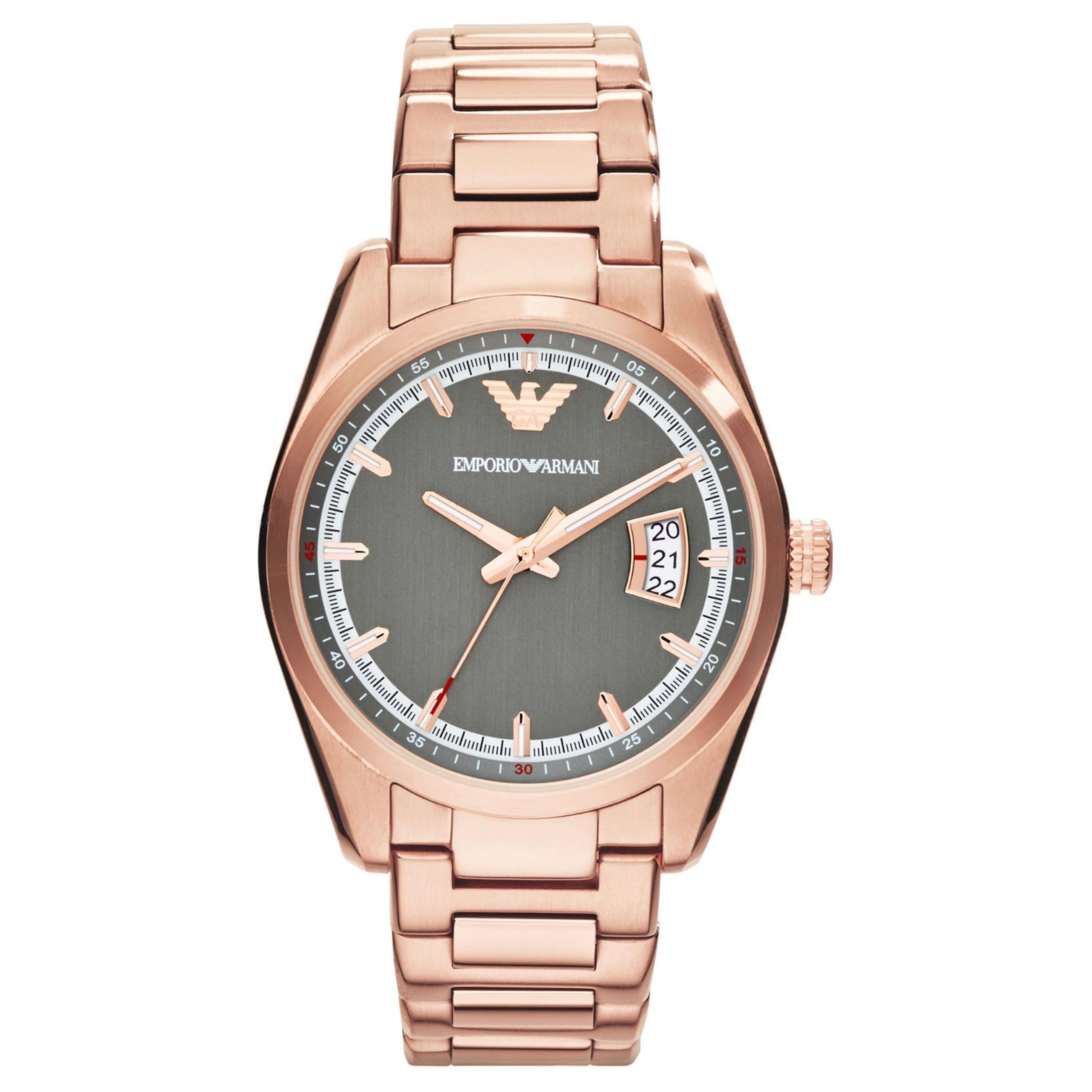 Emporio Armani Sportivo Ladies Watch | Grey Dial | PVD Rose Plated Strap | AR6020