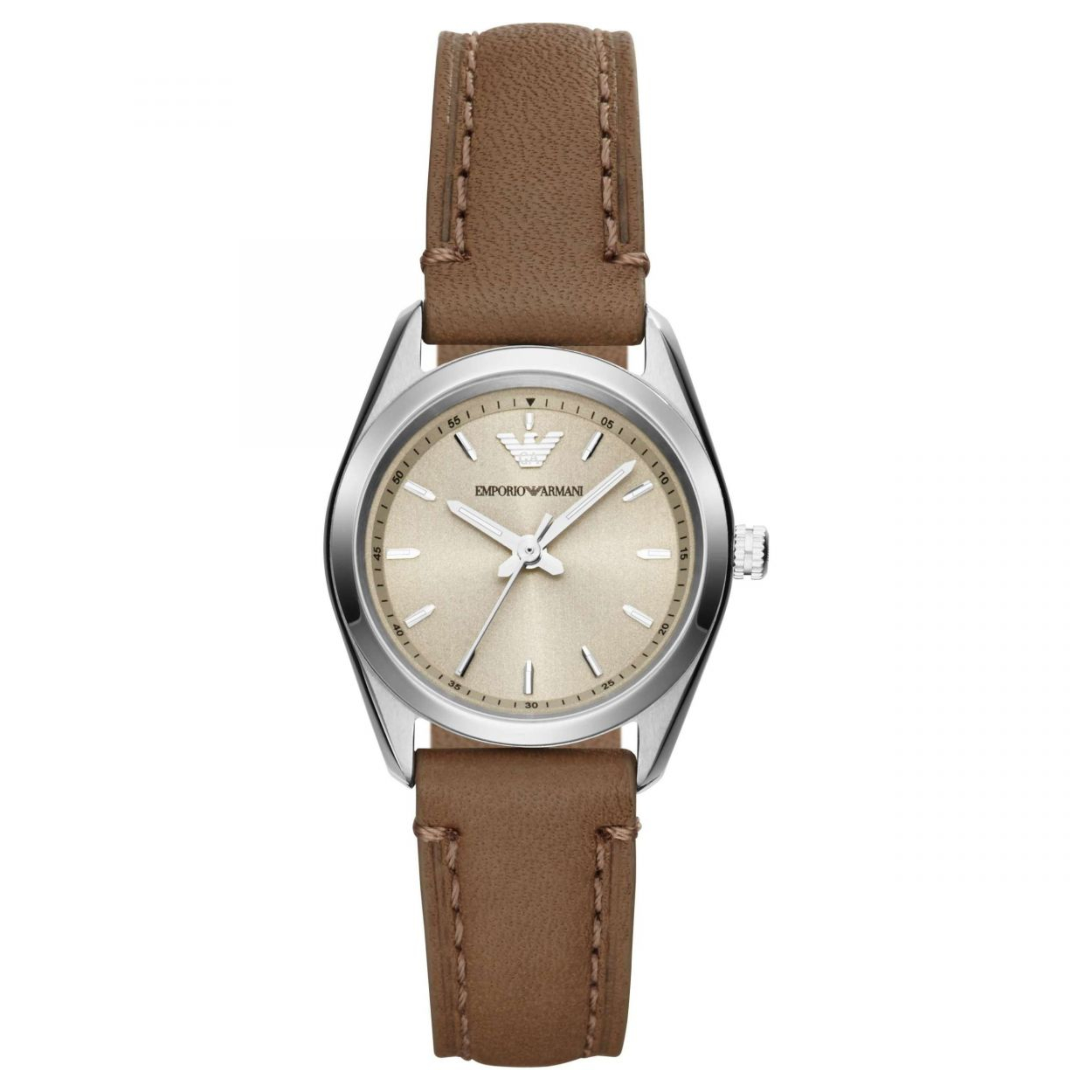 Emporio Armani Women's Watch?Round Cream Dial?Brown Leather Strap?AR6027