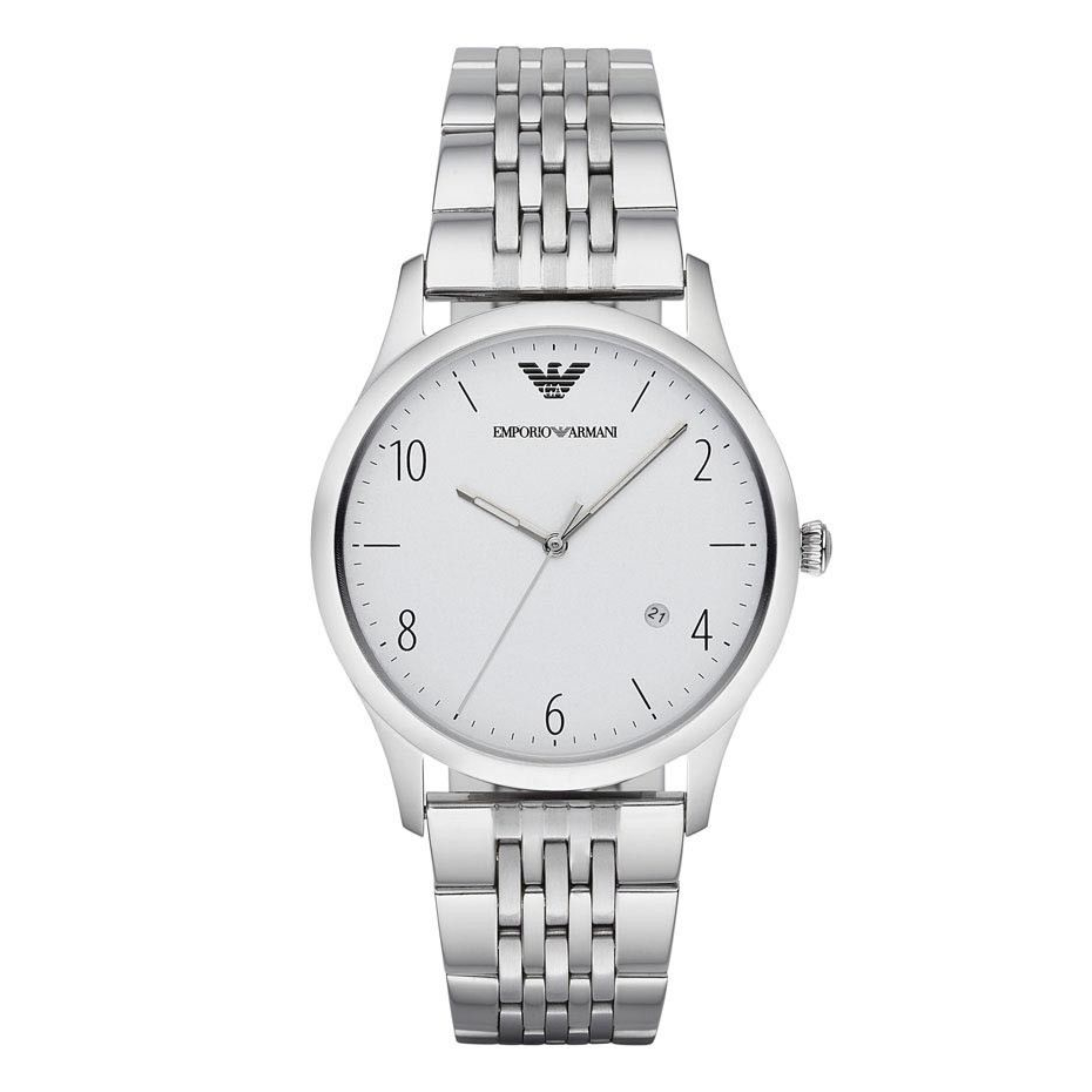 Emporio Armani Classic Men's Watch | Round White Dial | Stainless Steel Strap | AR1866