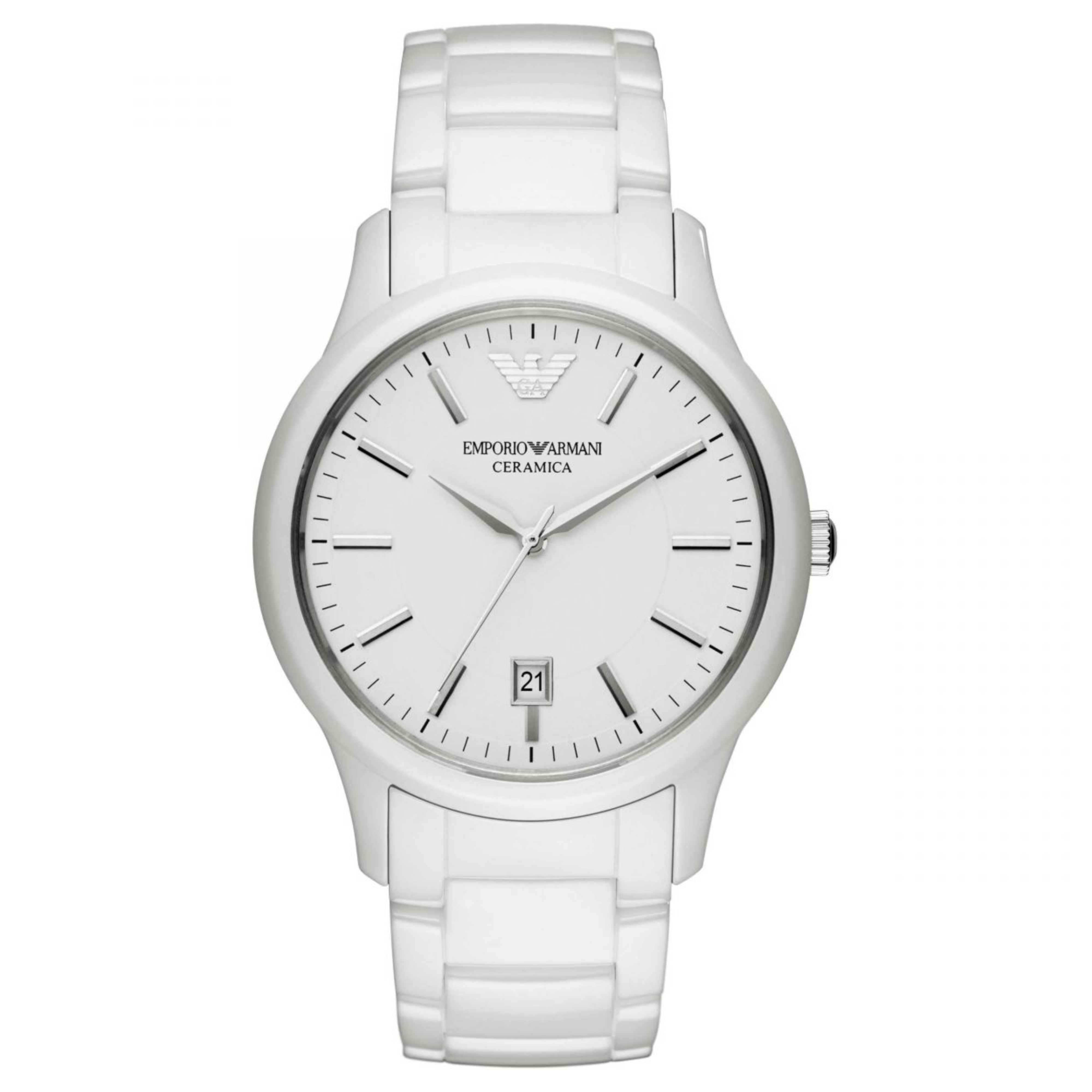 Emporio Armani Men's Watch|White Round Dial|White Ceramic Bracelet Band|AR1476