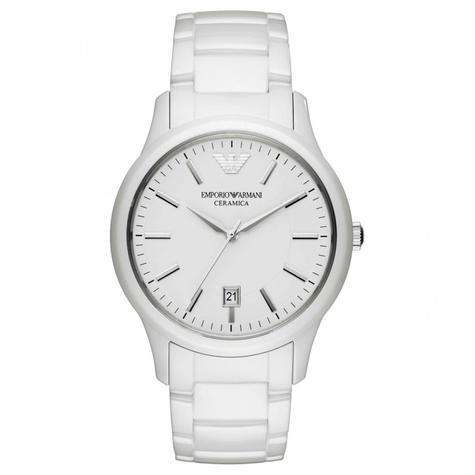 Emporio Armani Men's Watch|White Round Dial|White Ceramic Bracelet Band|AR1476 Thumbnail 1