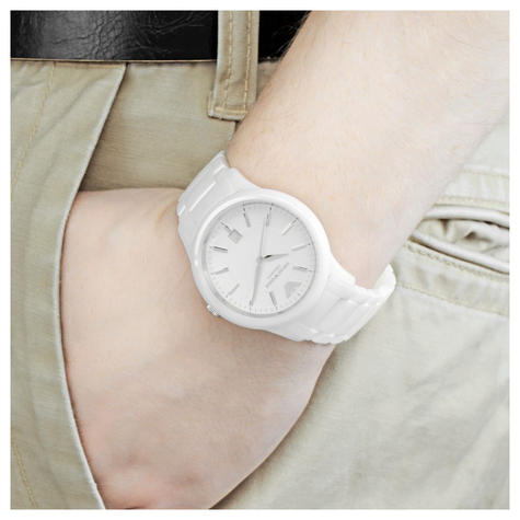 Emporio Armani Men's Watch|White Round Dial|White Ceramic Bracelet Band|AR1476 Thumbnail 2