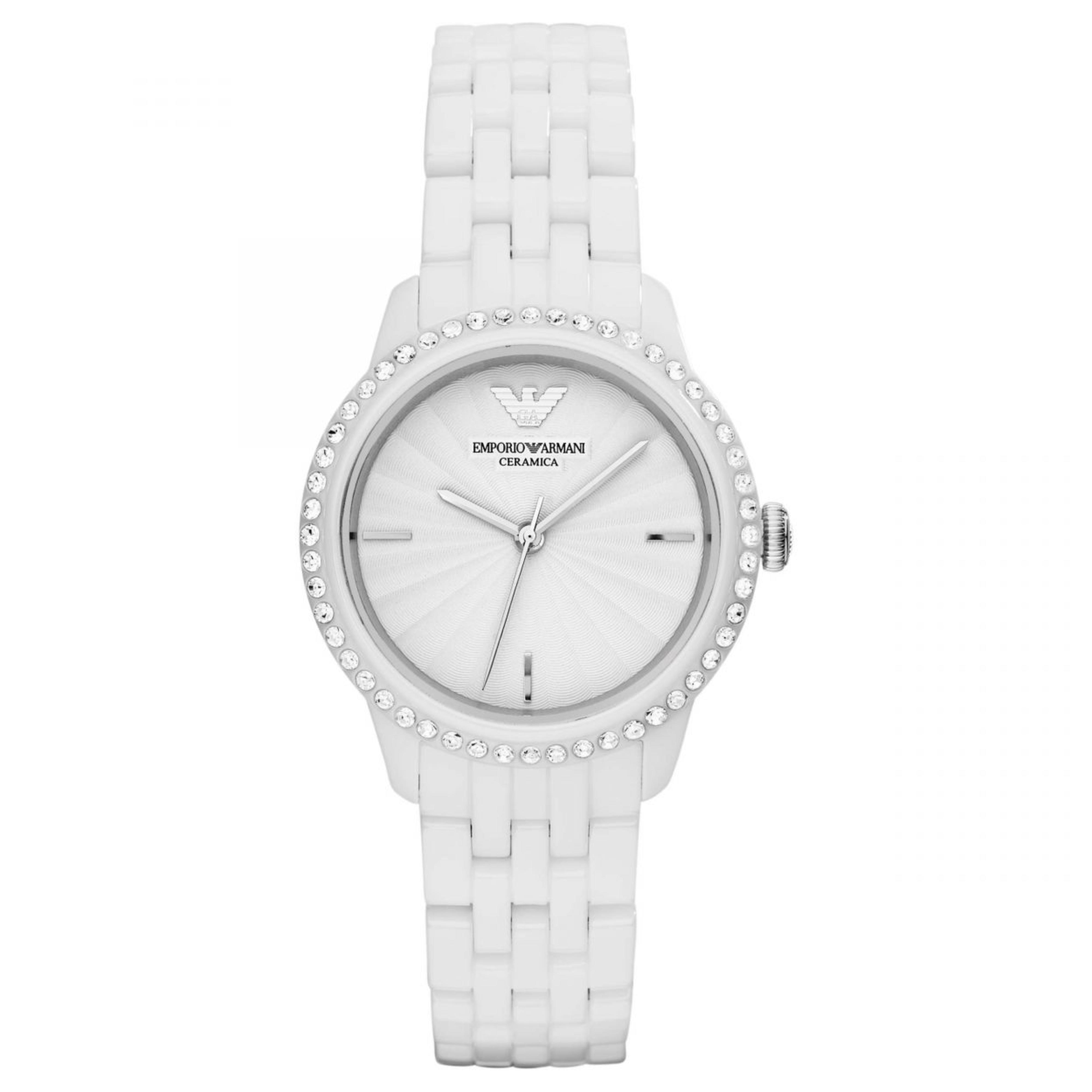 Emporio Armani Ladies' Watch|White Round Dial|White Ceramic Bracelet Band|AR1477
