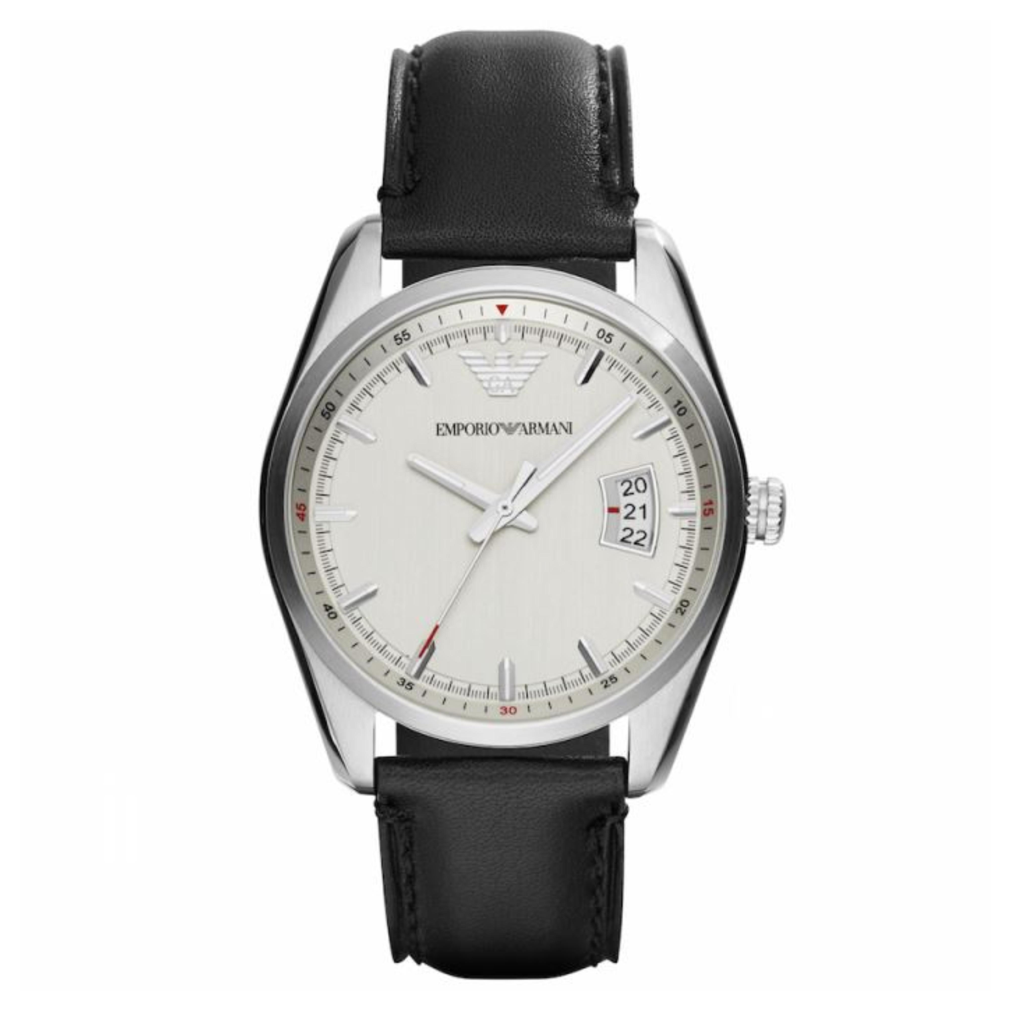 Emporio Armani Sportivo Men's Watch | Silver Round Dial | Black Leather Strap | AR6015