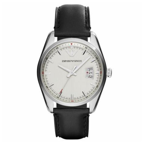 Emporio Armani Sportivo Men's Watch | Silver Round Dial | Black Leather Strap | AR6015 Thumbnail 1