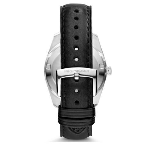 Emporio Armani Sportivo Men's Watch | Silver Round Dial | Black Leather Strap | AR6015 Thumbnail 2