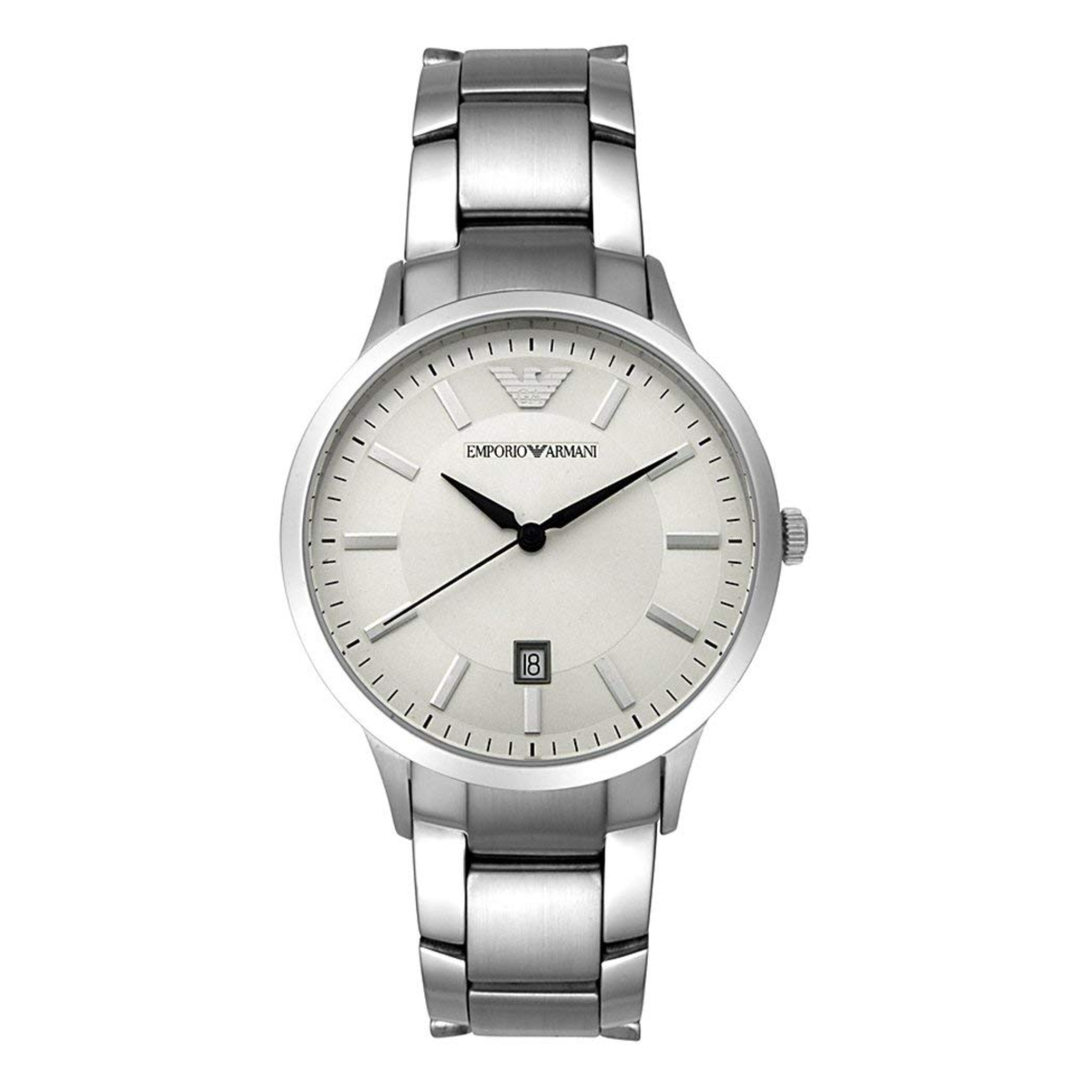 Emporio Armani Classic Men's Watch | Cream Round Dial | Stainless Steel Strap | AR2431