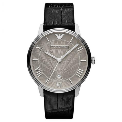 Emporio Armani Ladies Watch|Roman Numerals Grey Dail|Black Leather Strap|AR1612 Thumbnail 1