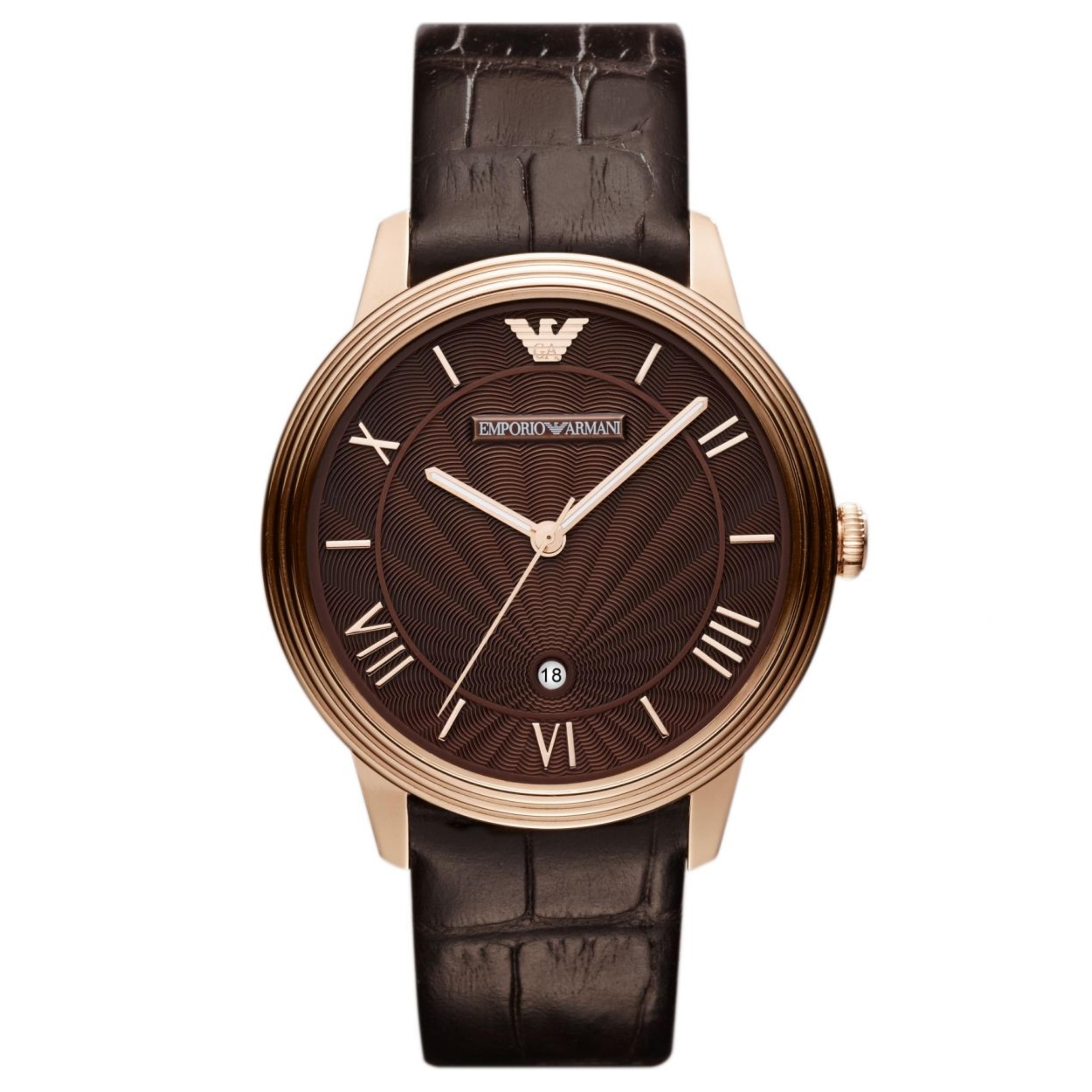 Emporio Armani Men's Watch|Roman Numerals Brown Dail|Brown Leather Strap|AR1613