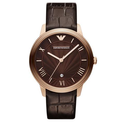 Emporio Armani Men's Watch|Roman Numerals Brown Dail|Brown Leather Strap|AR1613 Thumbnail 1