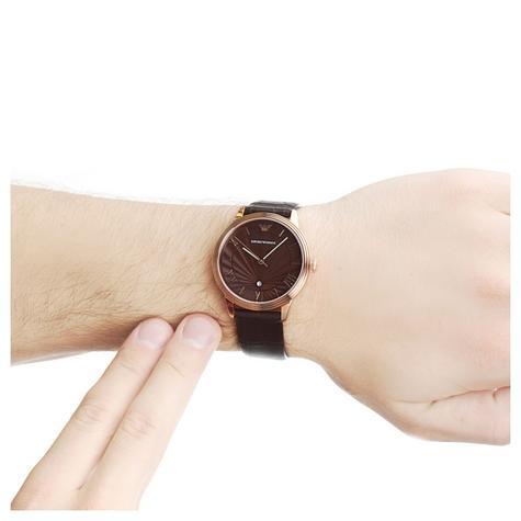 Emporio Armani Men's Watch|Roman Numerals Brown Dail|Brown Leather Strap|AR1613 Thumbnail 4