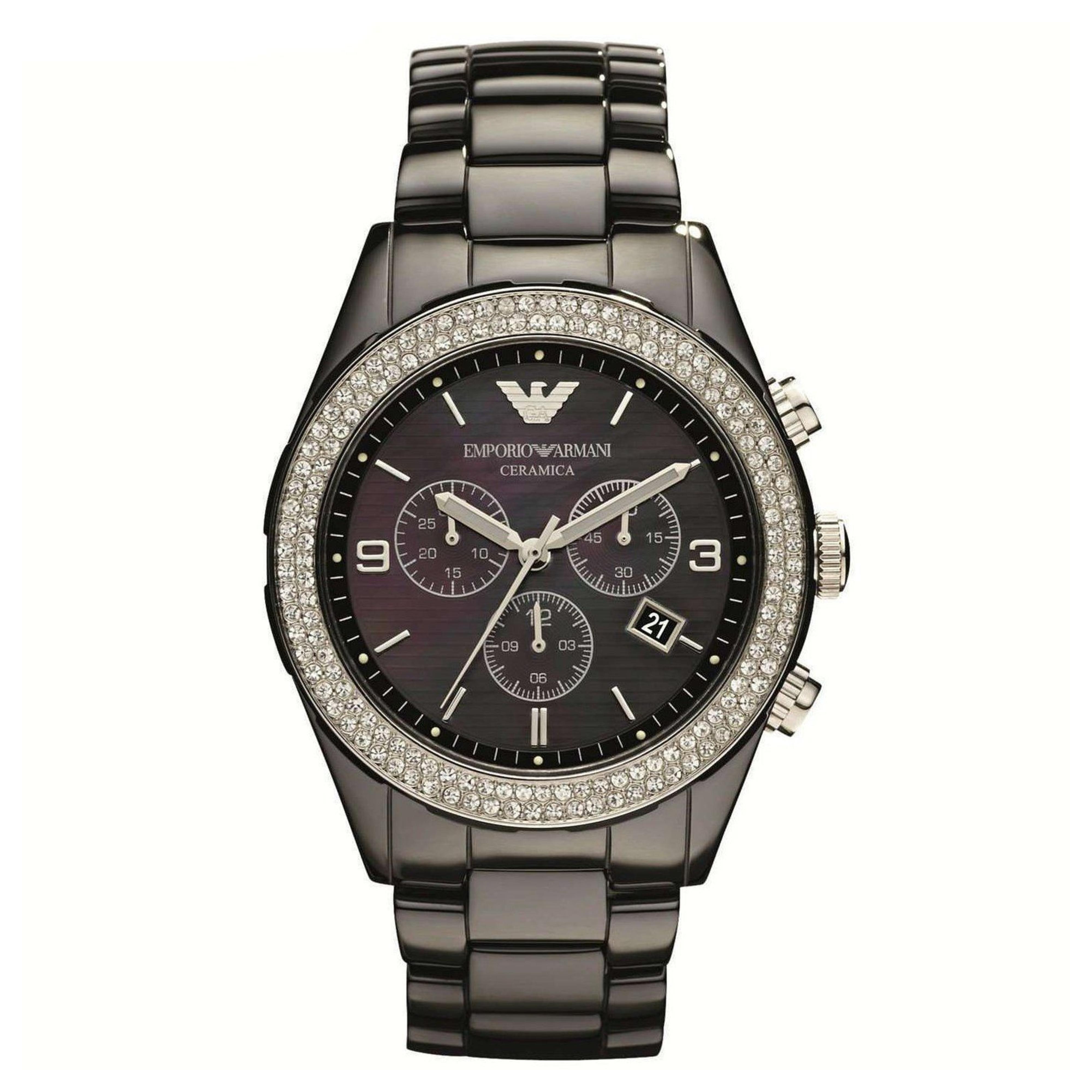 Emporio Armani Ceramica Ladies Watch | Mother of Pearl Dial | Ceramic Strap | AR1455
