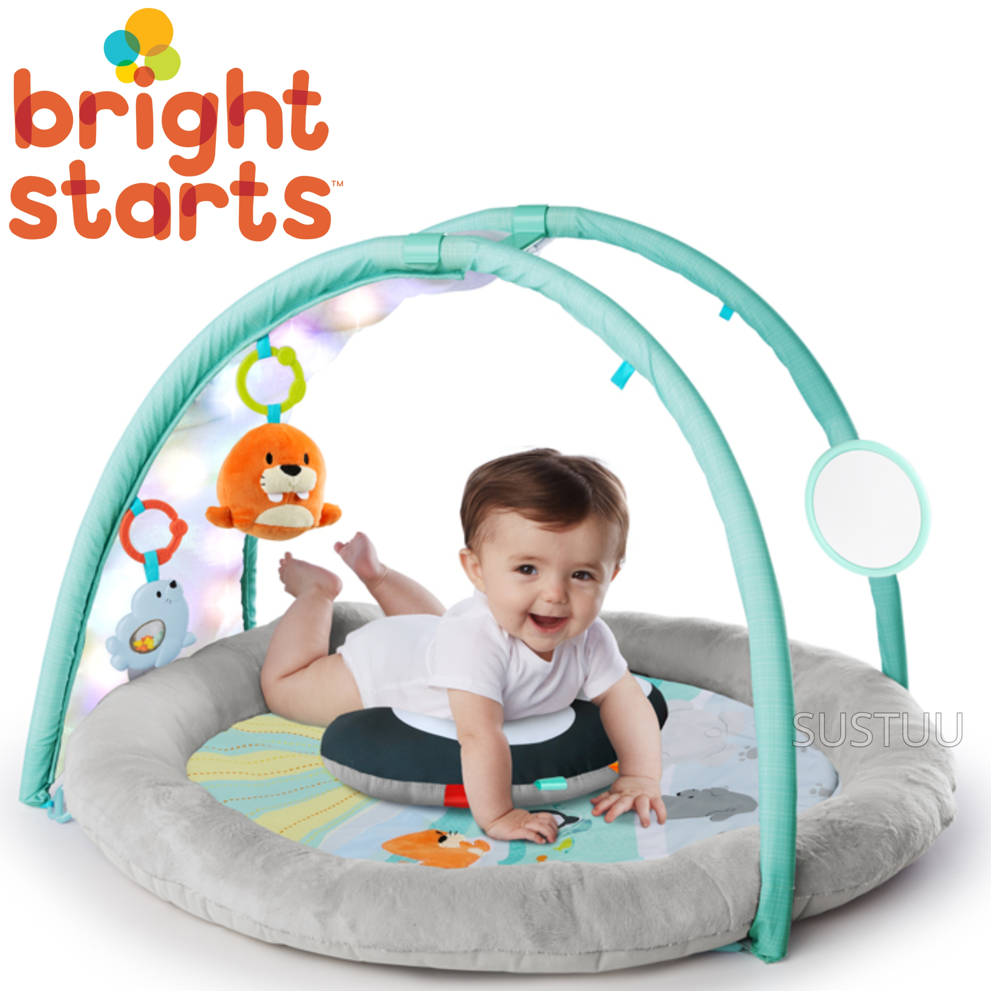 Bright Starts Activity Gym Arctic Glow | Baby/ kid's Playmat With Lights+Music | +0 Months