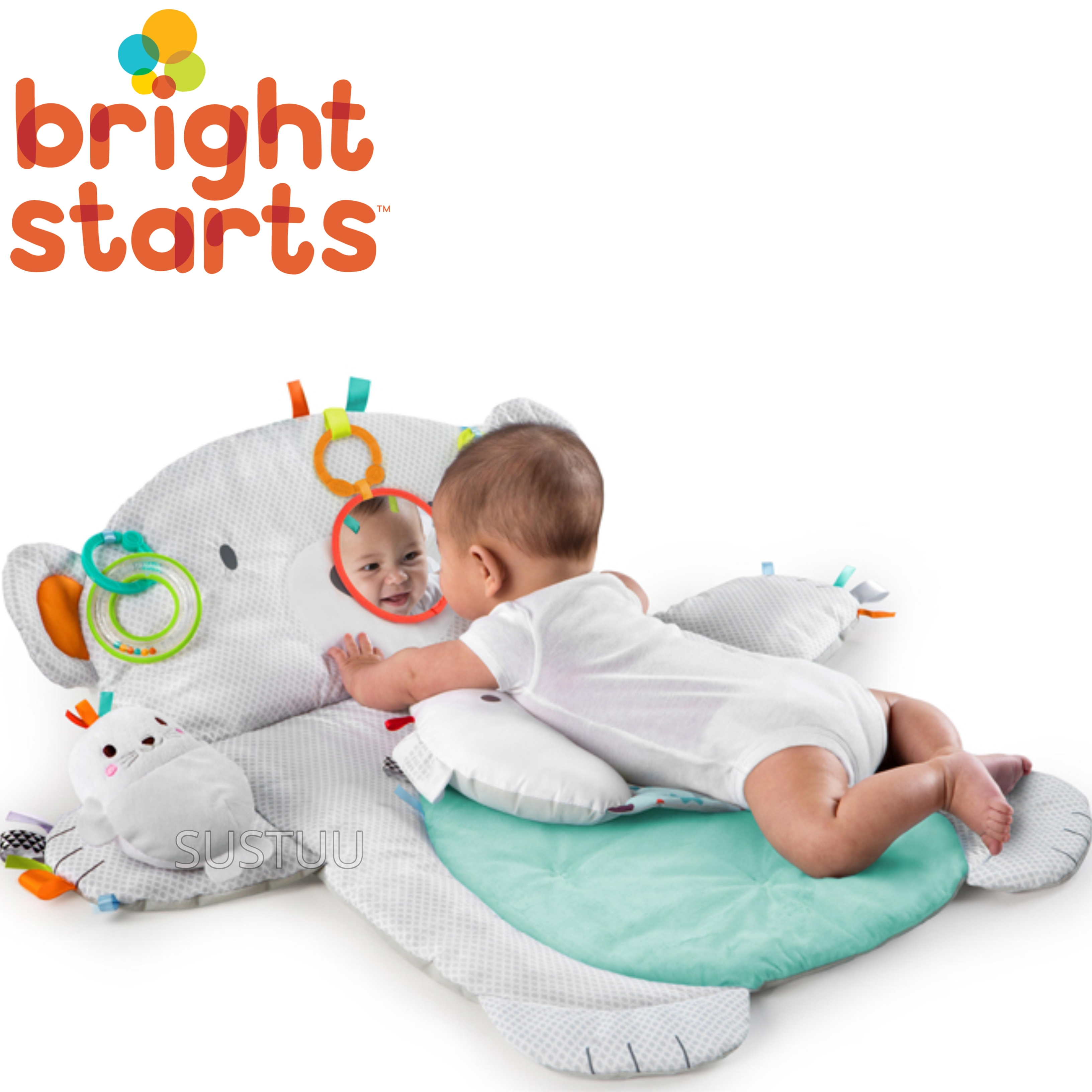 Bright Starts Tummy Time Prop and Play Bear | Baby's Tummytime Mat With Mirrorc | +0 Months