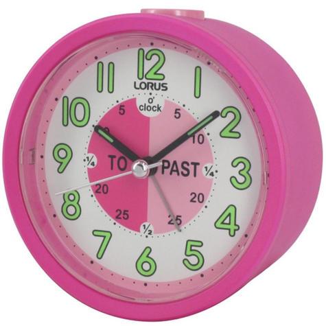 Lorus Time Teacher Bedside Beep Alarm Clock For Kids | Snooze | Lumibrite Hands | Pink Thumbnail 2