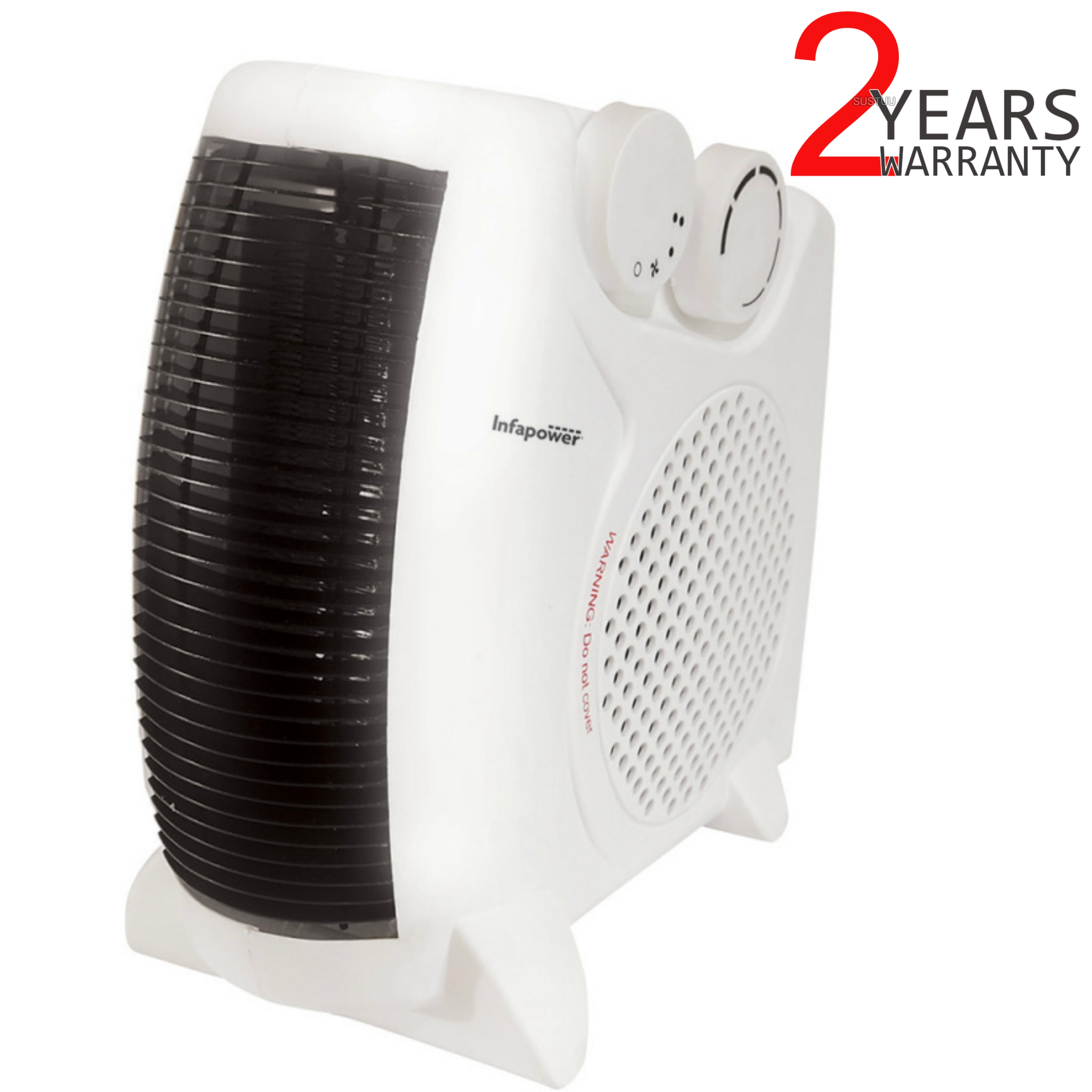 Infapower X402 Dual Position Fan Heater | 2000W | 2 Heat Settings | Turbo Fan | White