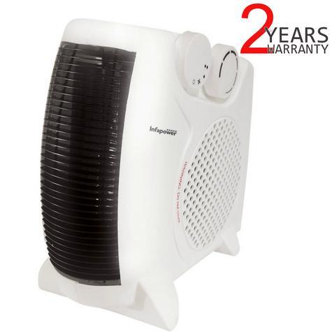 Infapower X402 Dual Position Fan Heater | 2000W | 2 Heat Settings | Turbo Fan | White Thumbnail 1