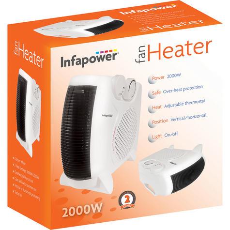 Infapower X402 Dual Position Fan Heater | 2000W | 2 Heat Settings | Turbo Fan | White Thumbnail 3