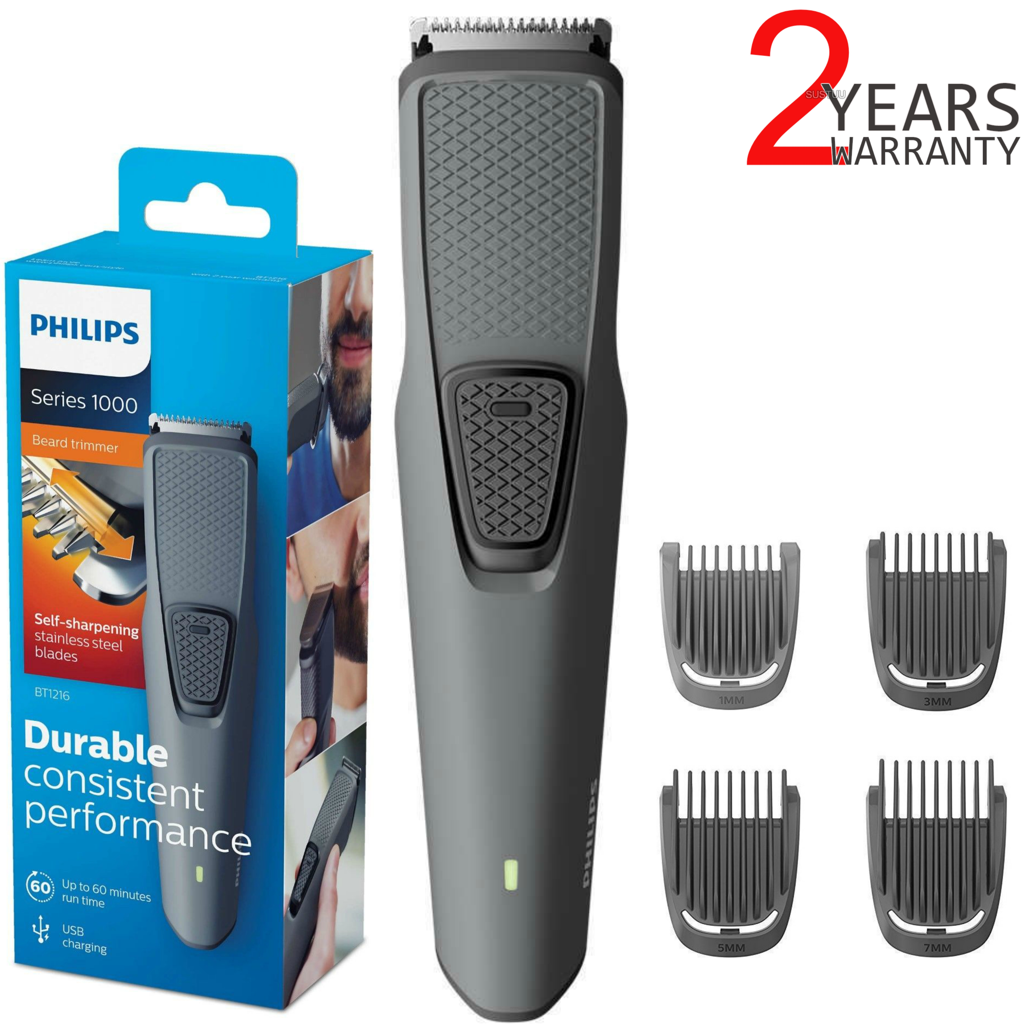 Philips BT1216/15 Series 1000 Beard-Stubble Trimmer | Cordless | USB Charging | Black