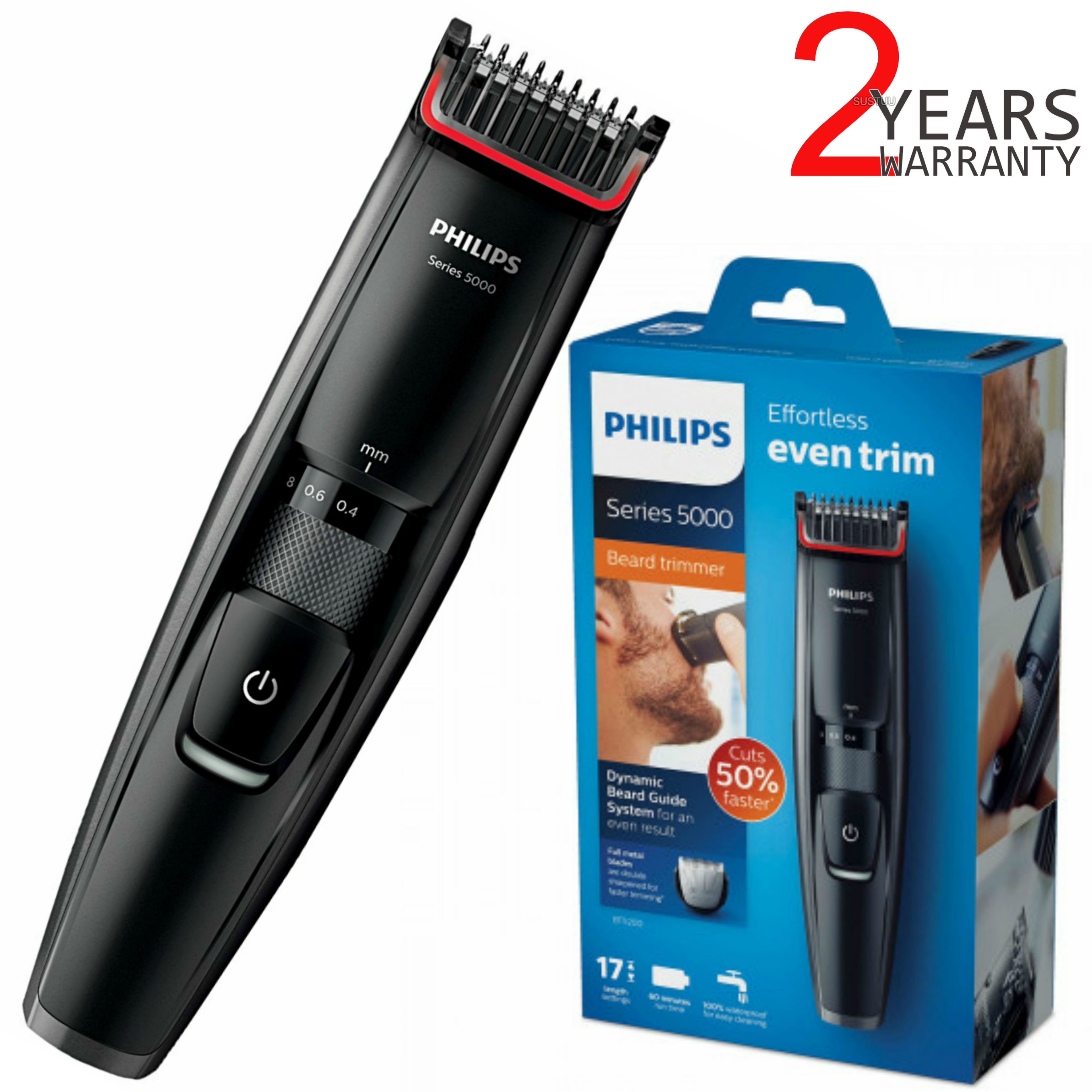 Philips Series 5000 Beard & Stubble Trimmer | 17 Length Setting | Cordless | BT5200/13