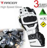 Racer High Speed Motorcycle/ Bike/ Racing Mens Leather Gloves | CE Approved | White
