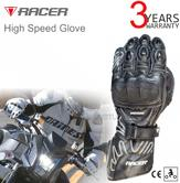 Racer High Speed Motorcycle/ Bike/ Racing Mens Leather Gloves | CE Approved | Black