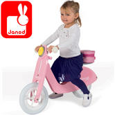 Janod Mademoiselle Pink Wooden Scooter   Adjustable Seat Height of 32 to 34cm   +3 year