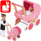 Janod Mademoiselle Doll's Wooden Pram With Blanket | Baby's Imaginative Playset | +3 to 6year