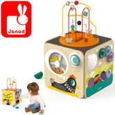 Janod Multi-Activity Wooden Cube | Baby's Educatinal Playset | Learn Shapes & Colour | +1 Year