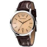 Emporio Armani Classic Women's Watch|Round Salmon Dial|Brown Leather Strap|2428