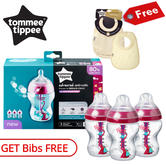 Tommee Tippee Advanced Anti-Colic Girls Bottle | Slow Flow | 260ml?3Pk | Free Milk Feeding Bib