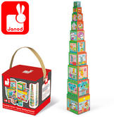 Janod City Friends Square Stacking Pyramid | 10 Stackable Cardboard Cubes | +1 Year