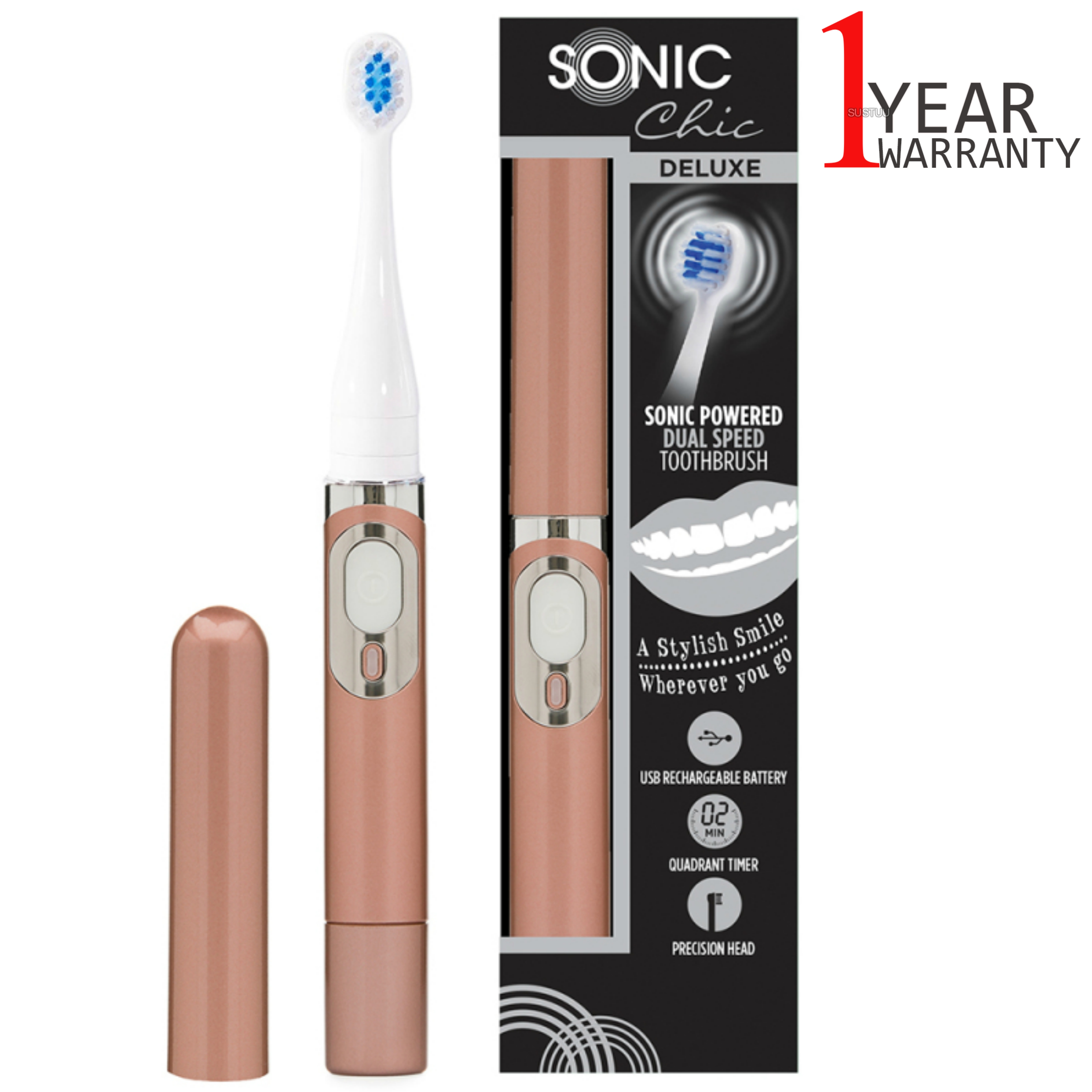 Sonic Chic Deluxe Rechargeable Travel Electric Toothbrush | Rose Gold | USP0544 | NEW