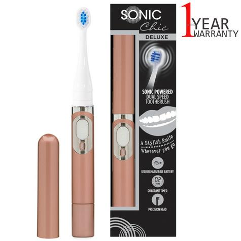 Sonic Chic Deluxe Rechargeable Travel Electric Toothbrush | Rose Gold | USP0544 | NEW Thumbnail 1
