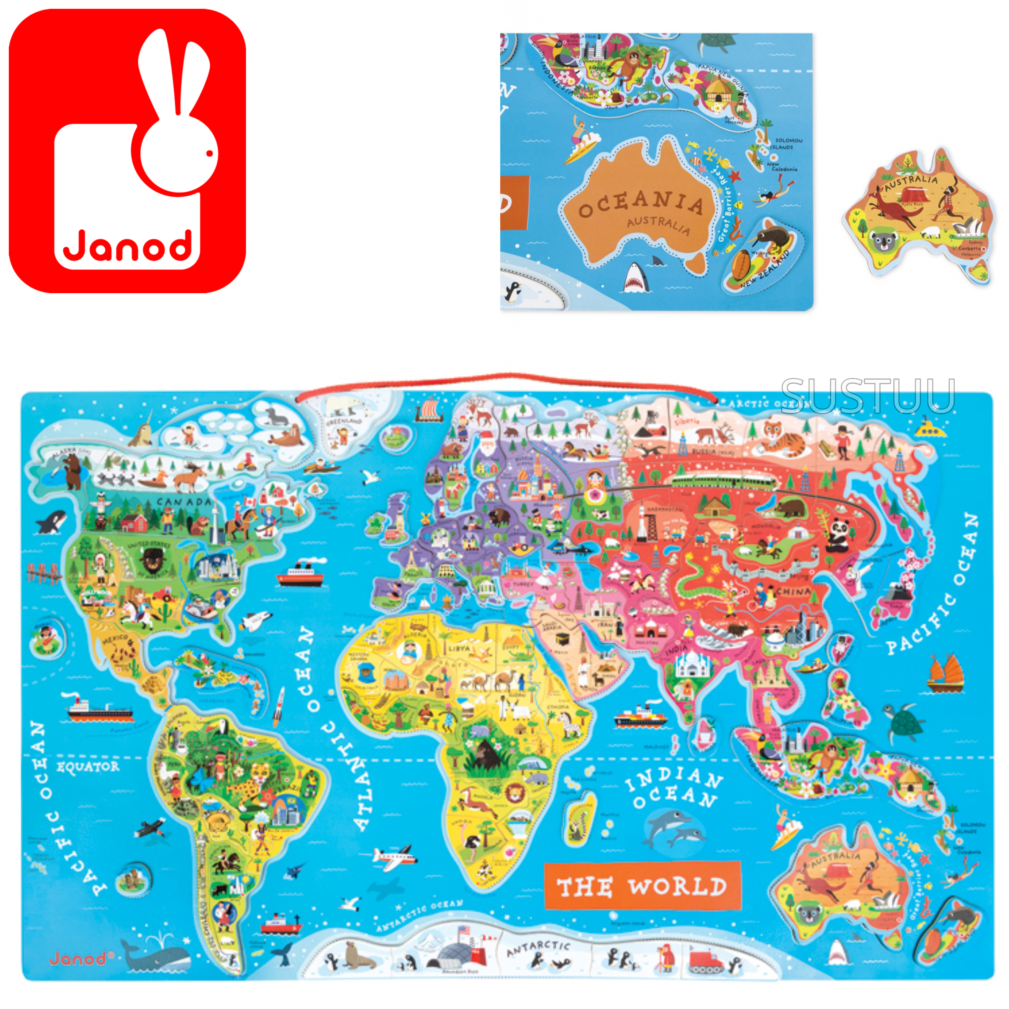Janod World Map.Janod Magnetic World Map Puzzle Includes 92 Magnetic Pieces 7