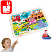 Janod Vehicles Chunky Puzzle | Includes 7 Illustrated Wooden Pieces | +1.5 to 3 year