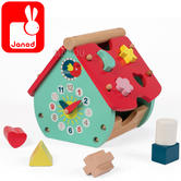 Janod Baby Forest House Shape Sorter | Includes 8 Wooden Shapes Pieces | 1.5 to 3 Years