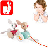 Janod Zigolos Pull-Along Rabbits | Crafted Wooden Toy | 1 to 3 years