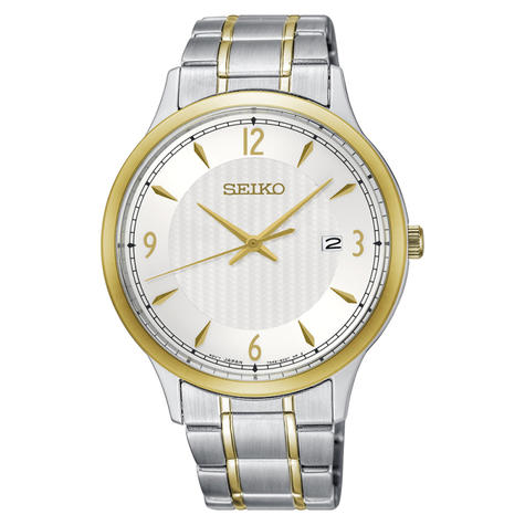 Seiko Mens Solar Powered Stainless Steel Watch | Silver-Tone White Dial | SGEH82P1 Thumbnail 2